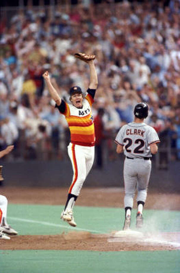 Mike Scott's no-hitterThis one is hard to beat. It's certainly the top no-hitter in organization history and Scott pitched it on September 25, 1986 to clinch the NL West, 2-0, over San Francisco. The no-hitter followed two other gems, a two-hitter by Jim Deshaies and a one-hitter by Nolan Ryan. Photo: Howard Castleberry, Houston Chronicle