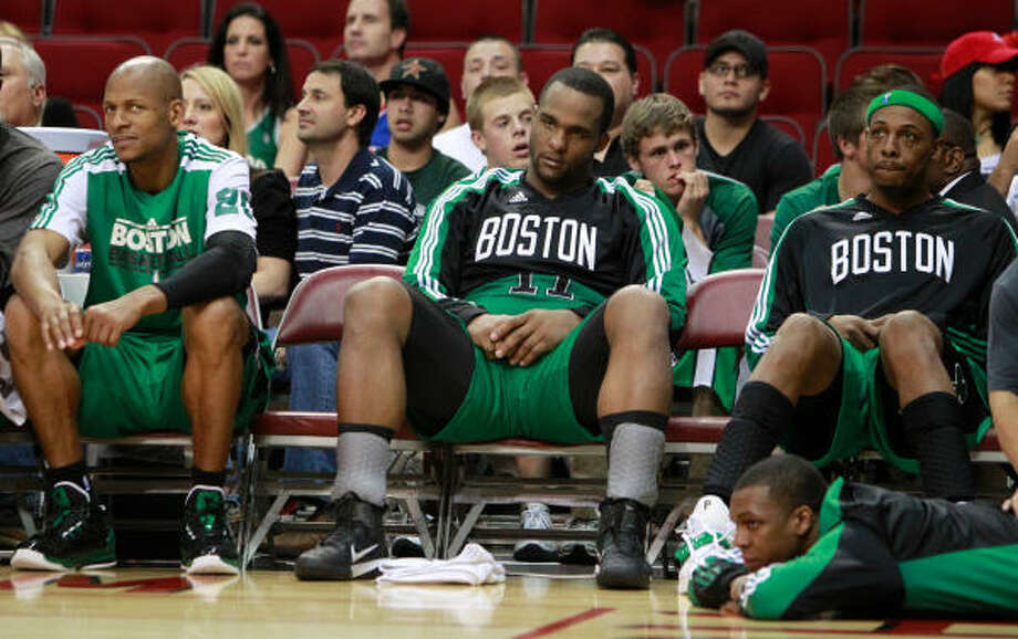 The Celtics were in a foul mood during Friday's game. Photo: Mayra Beltran, Chronicle
