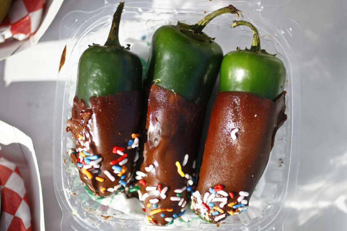 Chocolate Dipped Jalapenos from Mad Hatter Funnel Cakes.