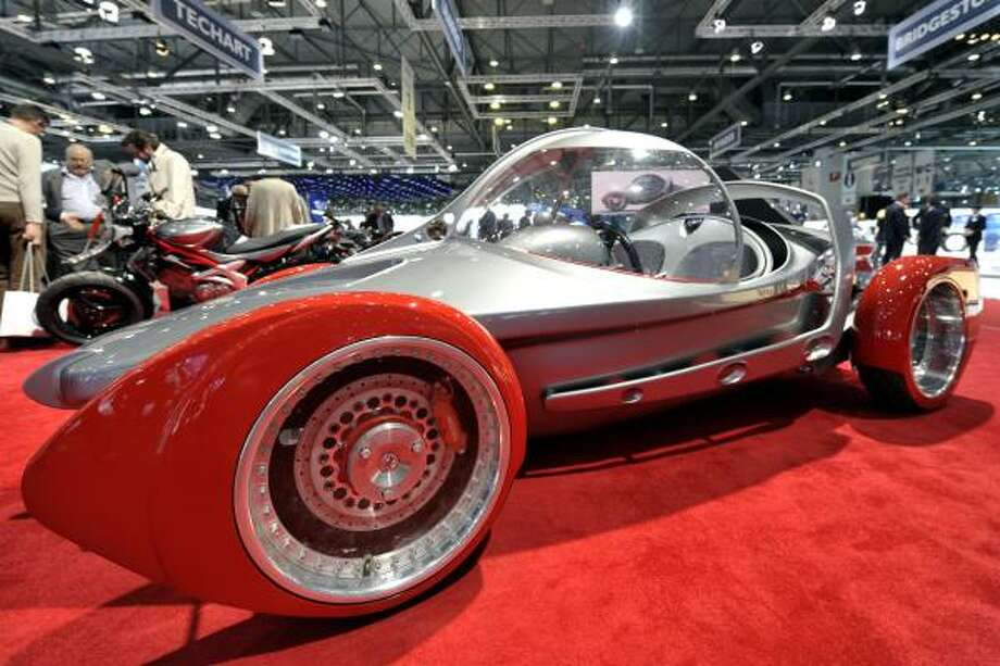 The Swiss new Sbarro Concept car TwoFort100 is shown during the press day at the 81st Geneva International Motor Show in Geneva, Switzerland, Tuesday, March 1, 2011. Photo: MARTIAL TREZZINI, AP