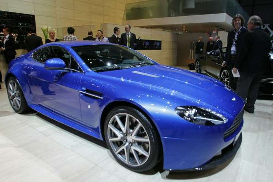 An Aston Martin V8 Vantage S car is displayed at the carmaker's booth on March 1, 2011 during the Ge