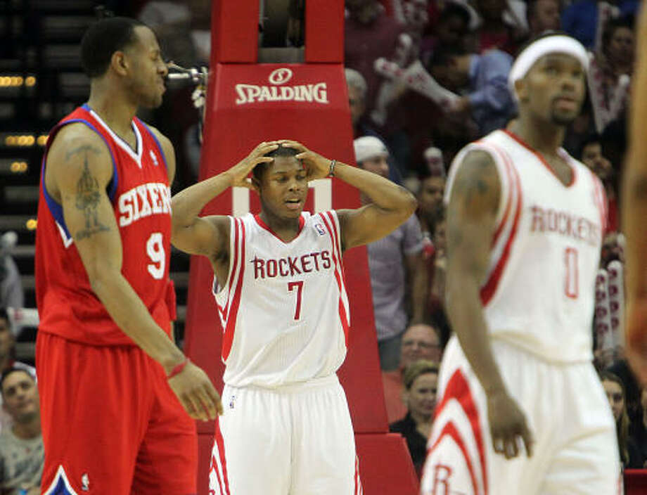 Feb. 16: 76ers 114, Rockets 105Rockets guard Kyle Lowry, center, scored a game-high 36 points in Wednesday's game against the Philadelphia 76ers, but it wasn't enough to prevent the Rockets from suffering their third loss in four games. Photo: James Nielsen, Chronicle