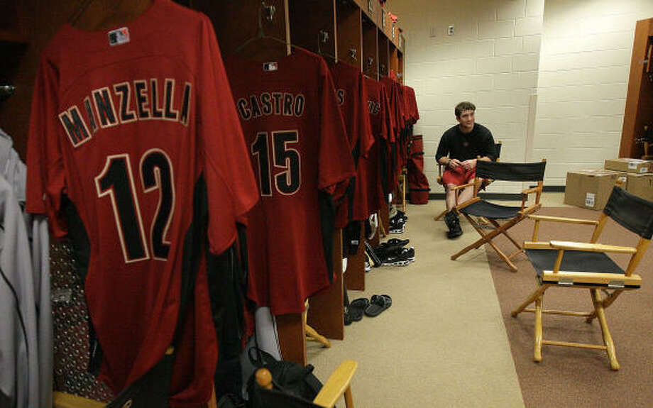Brett Wallace sits at his locker. Photo: Karen Warren, Chronicle
