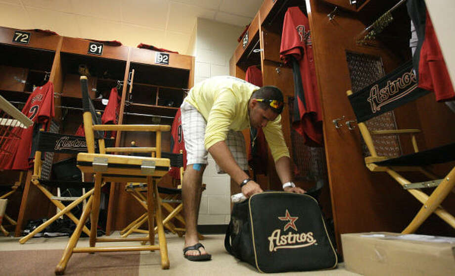 J.D. Martinez unpacks his gear in the Astros clubhouse as he checks in at the Astros Spring Training facility. Photo: Karen Warren, Chronicle