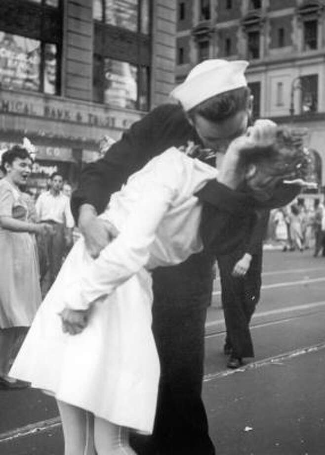 VJ DayThis image of a sailor kissing a nurse, captured in New York's Times Square on VJ Day in August, 1945, may be one of the most iconic kiss photos ever.  Photo: Dept Of The Navy Handout