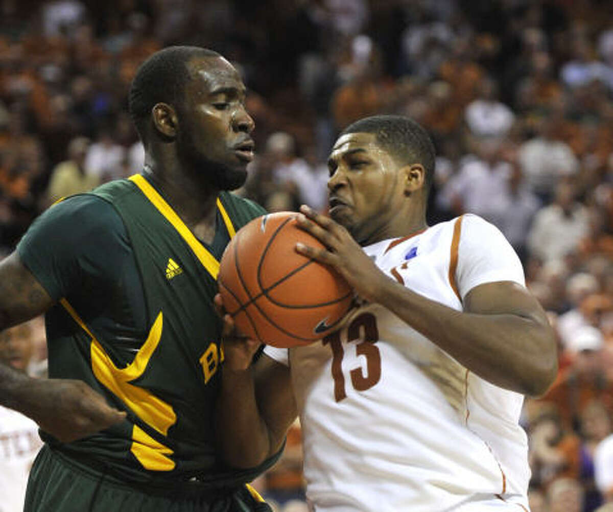 No. 3 Texas 69, Baylor 60 Texas forward Tristan Thompson, right, drives against Baylor forward Quincy Acy during the second half of Saturday's game in Austin. Thompson finished with 17 points and 13 rebounds.