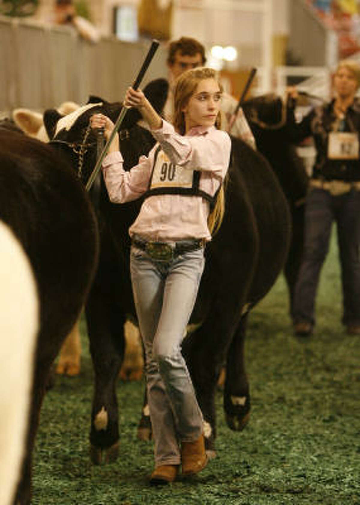 Megan Stammann, 15, shows Coco in the ring for the judge during the scramble heifer show.