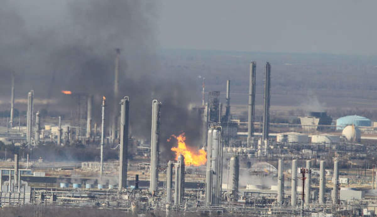 A fire erupted at a natural gas liquids processing plant east of Houston on Tuesday, Feb. 8, 2011.
