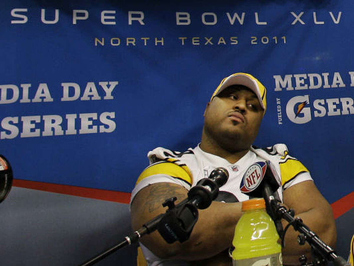 Pittsburgh Steelers' nose tackle Casey Hampton is all business on media day.