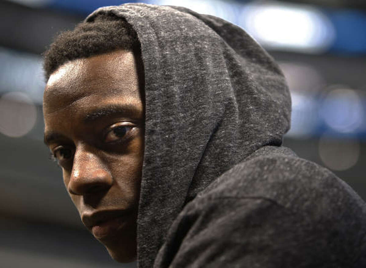 Though it was fun and games for some Tuesday, Steelers running back Rashard Mendenhall has a serious demeanor as he listens to a reporter's question.