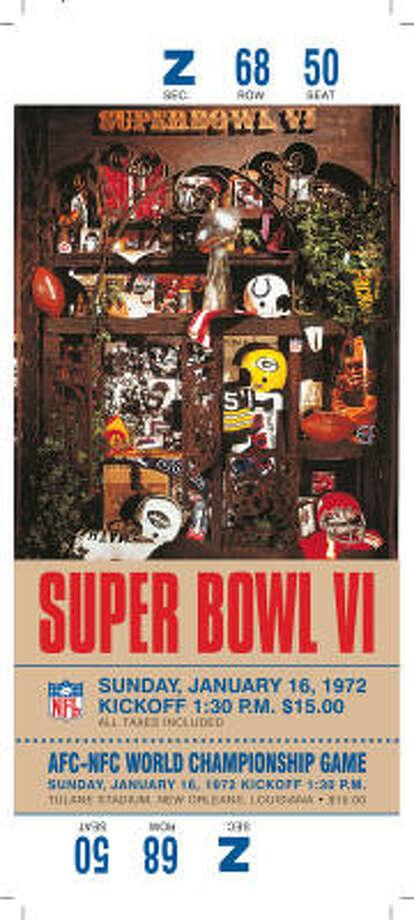 Super Bowl VI  Date: Jan. 16, 1972  Location: Tulane Stadium, New Orleans  Result: Dallas 24, Miami 3 Price: $15 Photo: NFL
