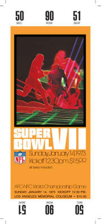 Super Bowl VIIDate:Jan. 14, 1973  Location: Memorial Coliseum, Los Angeles  Result: Miami 14, Washington 7 Price: $15 Photo: NFL