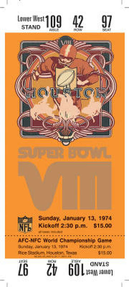 Super Bowl VIII  Date: Jan. 13, 1974  Location: Rice Stadium, Houston  Result: Miami 24, Minnesota 7  Price: $15 Photo: NFL