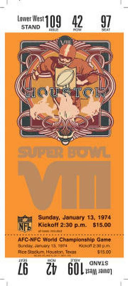 Super Bowl VIIIDate:Jan. 13, 1974  Location: Rice Stadium, Houston  Result: Miami 24, Minnesota 7  Price: $15 Photo: NFL