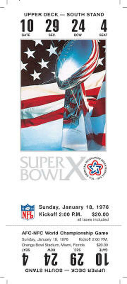 Super Bowl X  Date: Jan. 18, 1976  Location: Orange Bowl, Miami  Result: Pittsburgh 21, Dallas 17  Price: $20 Photo: NFL