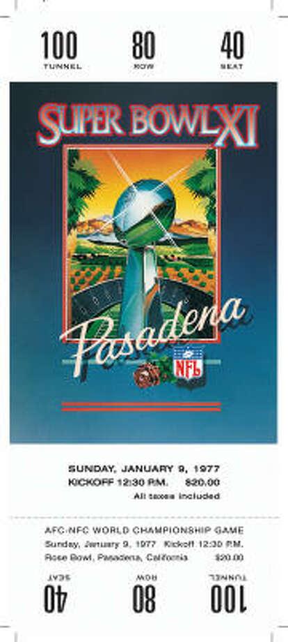 Super Bowl XIDate:Jan. 9, 1977  Location: Rose Bowl, Pasadena, Calif.  Result: Oakland 32, Minnesota 14  Price: $20 Photo: NFL