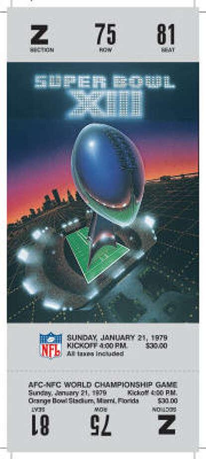 Super Bowl XIII  Date: Jan. 21, 1979  Location: Orange Bowl, Miami  Result: Pittsburgh 35, Dallas 31  Price: $30 Photo: NFL