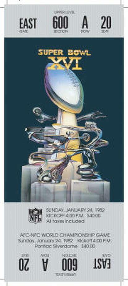 Super Bowl XVIDate:Jan. 24, 1982  Location: Silverdome, Pontiac, Mich.  Result: San Francisco 26, Cincinnati 21  Price: $40 . Photo: NFL