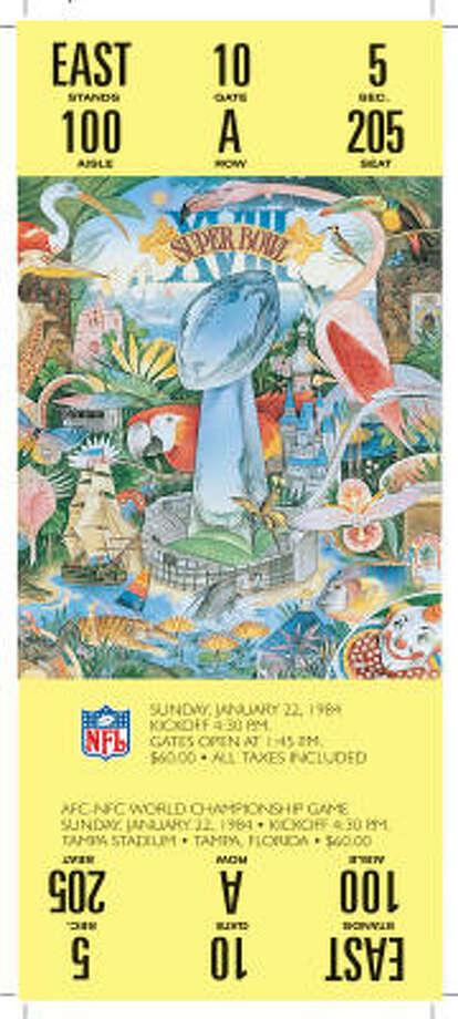 Super Bowl XVIIIDate:Jan. 22, 1984  Location: Tampa (Fla.) Stadium  Result: Los Angeles Raiders 38, Washington 9  Price: $60 Photo: NFL
