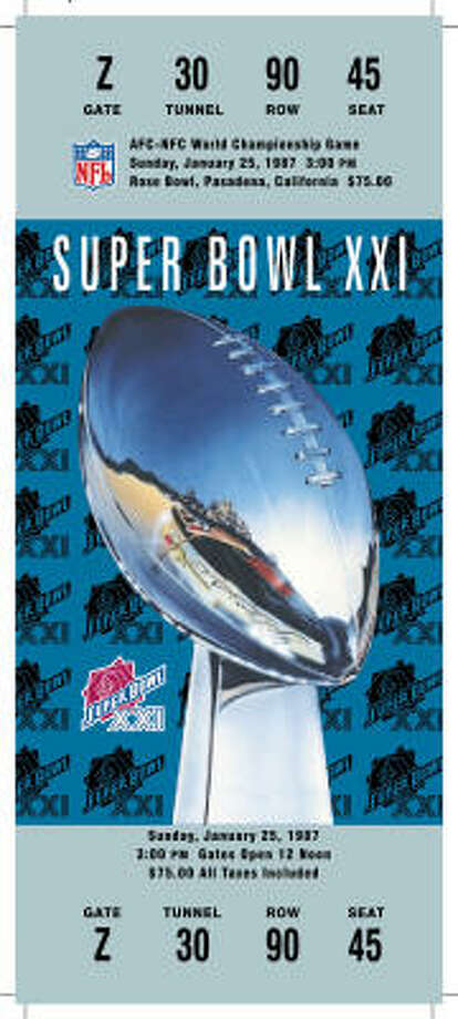 Super Bowl XXI  Date: Jan. 25, 1987  Location: Rose Bowl, Pasadena, Calif.  Result: New York Giants 39, Denver 20  Price: $75 Photo: NFL
