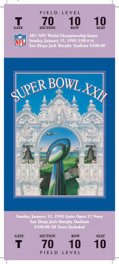 Super Bowl XXII  Date: Jan. 31, 1988  Location: Jack Murphy Stadium, San Diego   Result: Washington 42, Denver 10  Price: $100 Photo: NFL