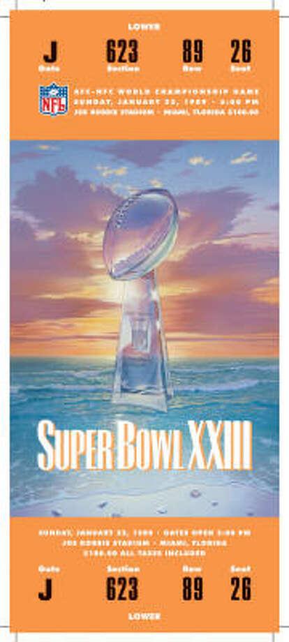 Super Bowl XXIIIDate:Jan. 22, 1989  Location: Joe Robbie Stadium, Miami  Result: San Francisco 20, Cincinnati 16  Price: $100 Photo: NFL