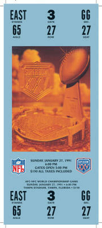 Super Bowl XXV  Date: Jan. 27, 1991  Location: Tampa (Fla.) Stadium   Result: New York Giants 20, Buffalo 19  Price: $150 Photo: NFL