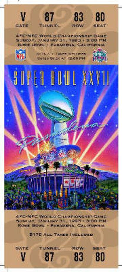 Super Bowl XXVIIDate:Jan. 31, 1993  Location: Rose Bowl, Pasadena, Calif.  Result: Dallas 52, Buffalo 17  Price: $175 Photo: NFL
