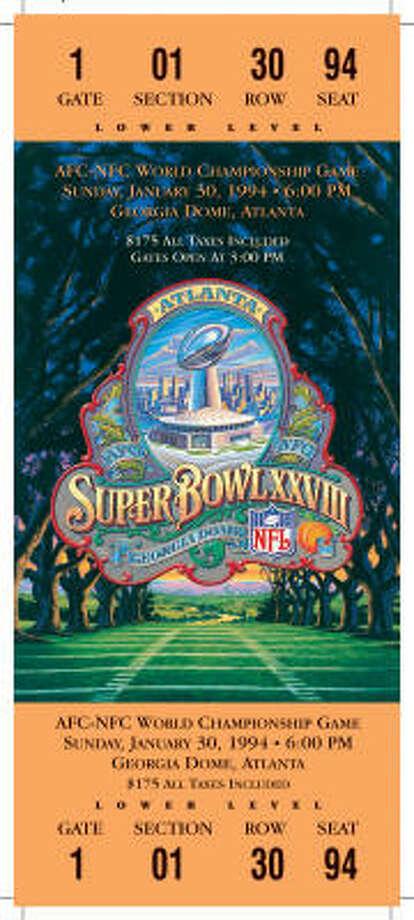 Super Bowl XXVIIIDate:Jan. 30, 1994  Location: Georgia Dome, Atlanta   Result: Dallas 30, Buffalo 13  Price: $175 Photo: NFL