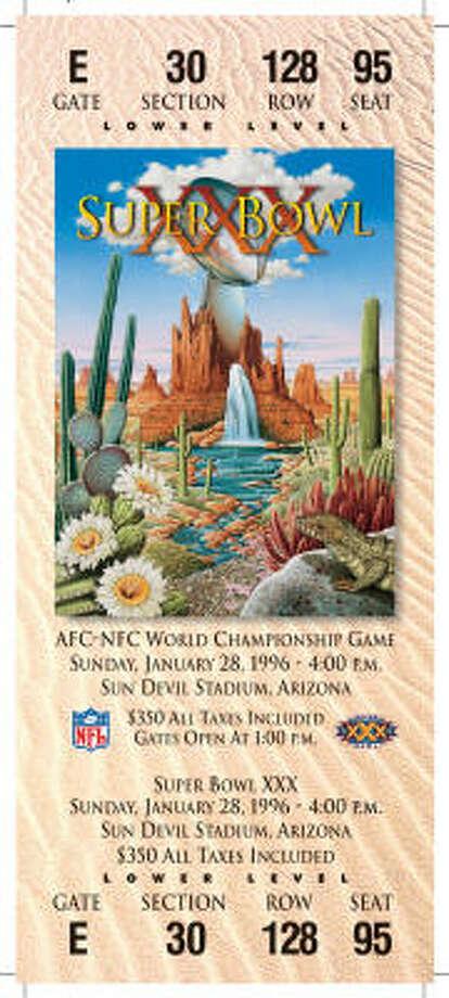 Super Bowl XXIX  Date: Jan. 29, 1995  Location: Joe Robbie Stadium, Miami  Result: San Francisco 49, San Diego 26  Price: $200 Photo: NFL