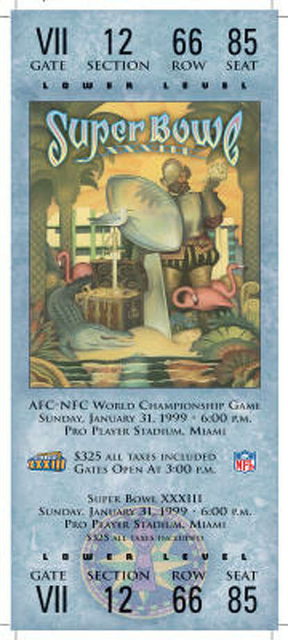 Super Bowl XXXIII  Date: Jan. 31, 1999  Location: Pro Player Stadium, Miami  Result: Denver 34, Atlanta 19  Price: $325 Photo: NFL
