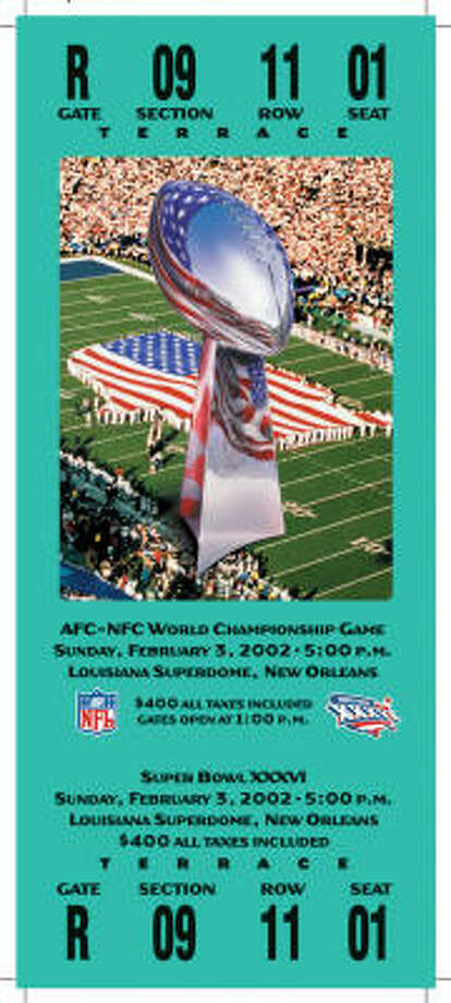 Super Bowl XXXVI  Date: Feb. 3, 2002  Location: Superdome, New Orleans  Result: New England 20, St. Louis 17  Price: $400 Photo: NFL