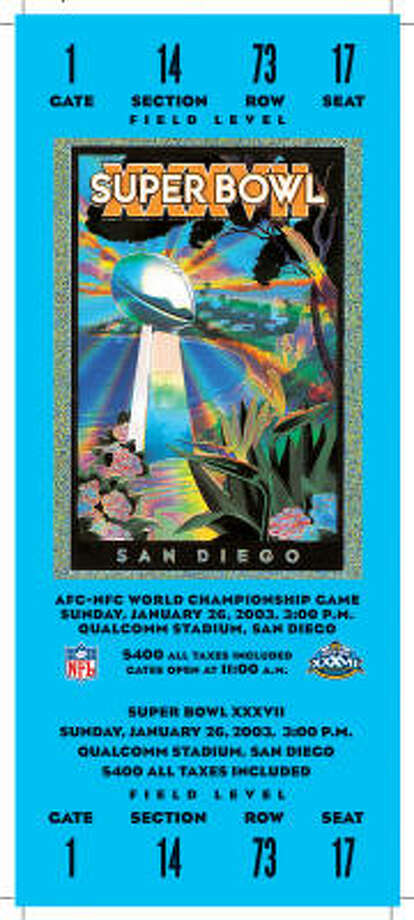 Super Bowl XXXVII  Date: Jan. 26, 2003  Location: Qualcomm Stadium, San Diego  Result: Tampa Bay 48, Oakland 21  Price: $500, $400 Photo: NFL
