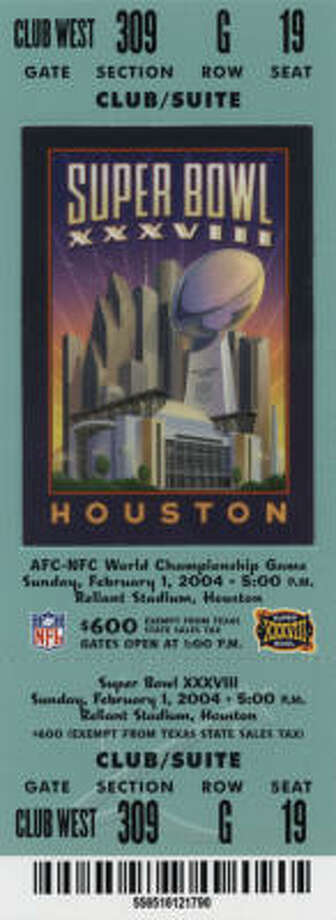 Super Bowl XXXVIII  Date: Feb. 1, 2004  Location: Reliant Stadium,. Houston  Result: New England 32, Carolina 29  Price: $600, $500, $400 Photo: NFL