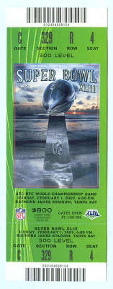 Super Bowl XLIII  Date: Feb. 1, 2009  Location: Raymond James Stadium, Tampa, Fla.   Result: Pittsburgh 27, Arizona 23  Price: $1,000, $800, $500 N Photo: NFL