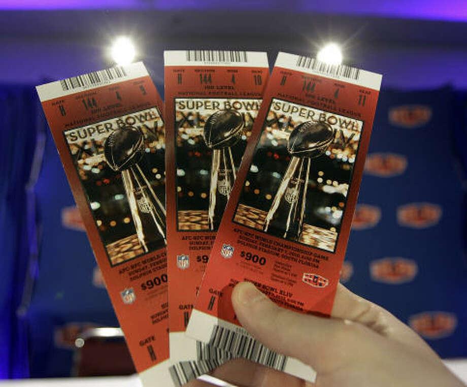 Super Bowl XLIV  Date: Feb. 7, 2010  Location: Sun Life Stadium, Miami  Price: $1,000, $900, $800, $500 Photo: AP