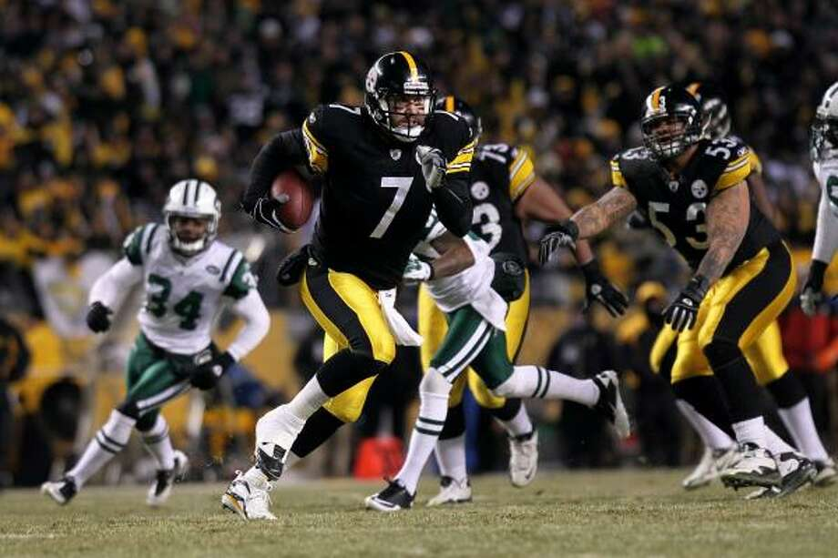 Jan. 23: Steelers 24, Jets 19 Steelers quarterback Ben Roethlisberger (7) ran for a touchdown and converted a key third down late in the fourth quarter to help Pittsburgh hold off for a win over the Jets. The Steelers will face the Green Bay Packers in the Super Bowl on Feb. 6 in Dallas. Photo: Nick Laham, Getty Images
