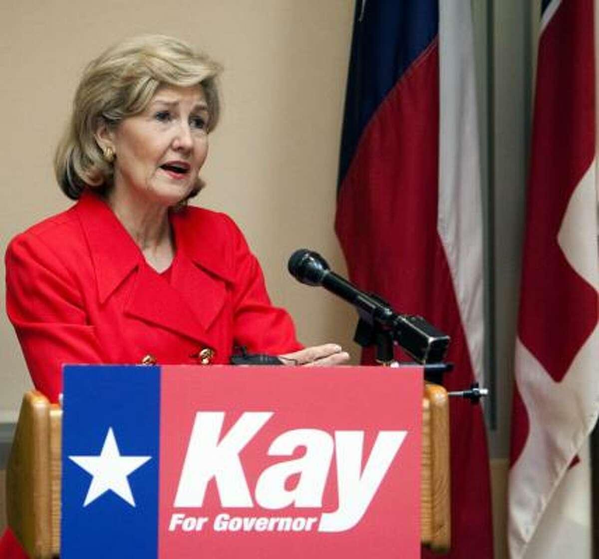 Sen. Kay Bailey Hutchison, R-Texas, addresses the Greater Houston Pachyderm Club Tuesday Jan. 19, 2010, in Houston.