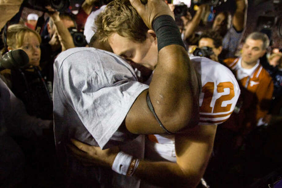 Jan. 7, 2010 | Texas quarterback Colt McCoy (12) hugs Alabama running back Mark Ingram following Alabama's 37-21 victory the Citi BCS National Championship football game at the Rose Bowl in Pasadena, Calif. Photo: Brett Coomer, Houston Chronicle