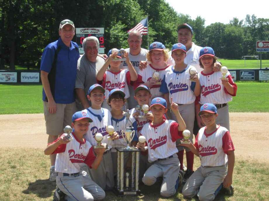 Darien's 11U baseball team poses for a picture after winning the Stamford Invitational Championship. Back row, left to right: Coach Brian Rayhill, Manager Tom Conte, Ethan Ehlers, Coach Billy Jordan, Harry Rayhill, Zach Dimonekas, Coach James Dimonekas and Chris Vernals. Front row, left to right: Justin Jordan, Will Enzor, Justin Van de Graaf, Sean O'Malley, Fin Batson and Nick Conte. Photo: Contributed Photo