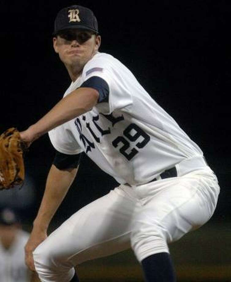 Rice pitcher Matthew Reckling found his groove and retired nine straight batters until he was betrayed by his defense. Photo: Vickie D. King, Associated Press