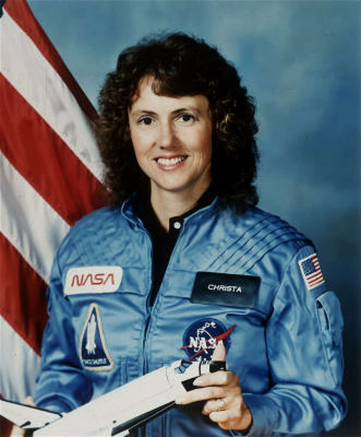Christa McAuliffe and six other astronauts perished on live TV when their Challenger shuttle exploded on liftoff.