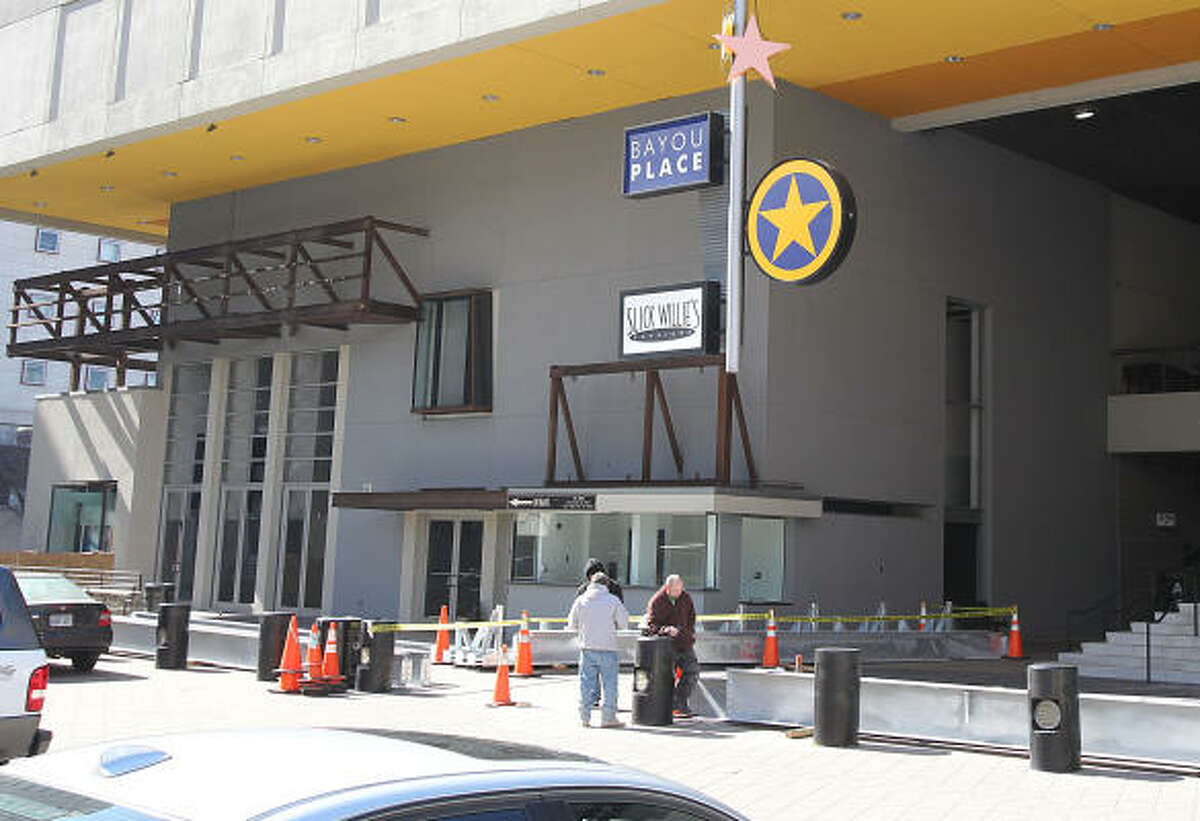 Remodeling proceeds on the Bayou Place entertainment and dining complex in early February.