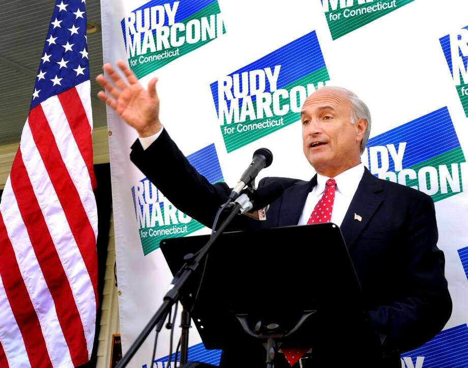 Rudy Marconi, First Selectman of Ridgefield, announcing he's forming an exploratory committee to run for governor, standing on the steps of the Ridgefield Community Center on Monday, Oct.5,2009. Photo: Michael Duffy / The News-Times