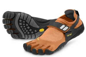 Vibram FiveFingers Treksport shoes come in  orange, black an gray.