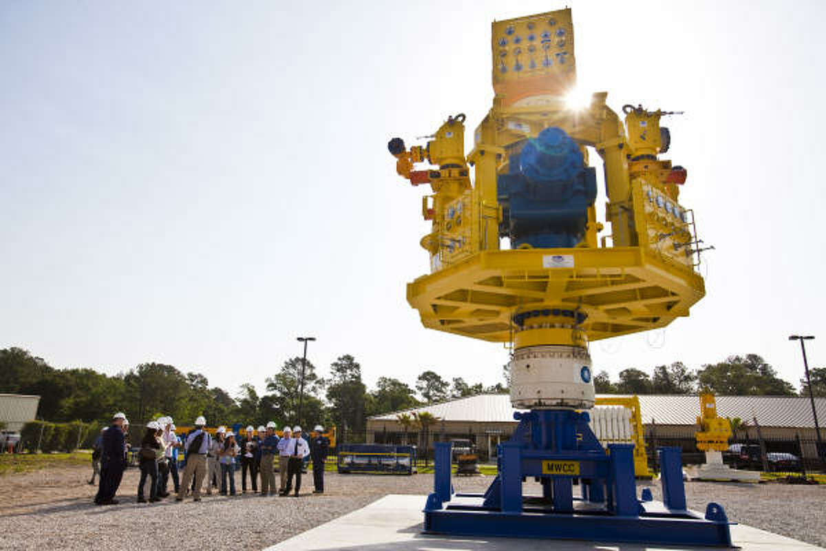Marine Well Containment Co. showed the central piece of its system to the media on Friday.