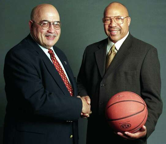 St. Joe's basketball coach Vito Montelli and Harding basketball coach Charlie Bentley, Bridgeport, Conn. Nov. 6th, 2002. Photo: Ned Gerard / Connecticut Post