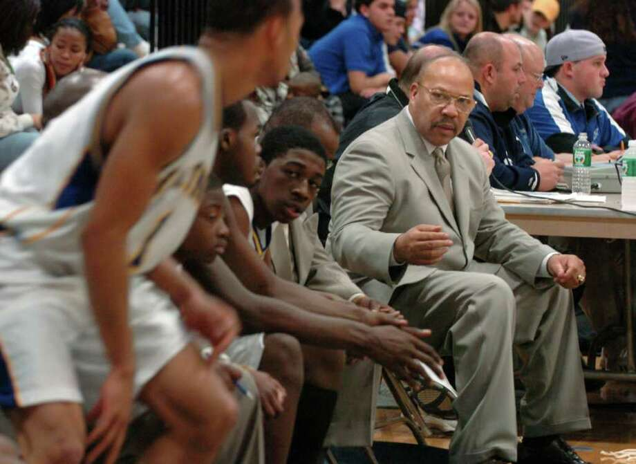 Harding High School boys basketball coach Charles Bentley during a game against Fairfield Ludlowe High School Dec. 13th, 2006. Photo: File Photo / Connecticut Post File Photo