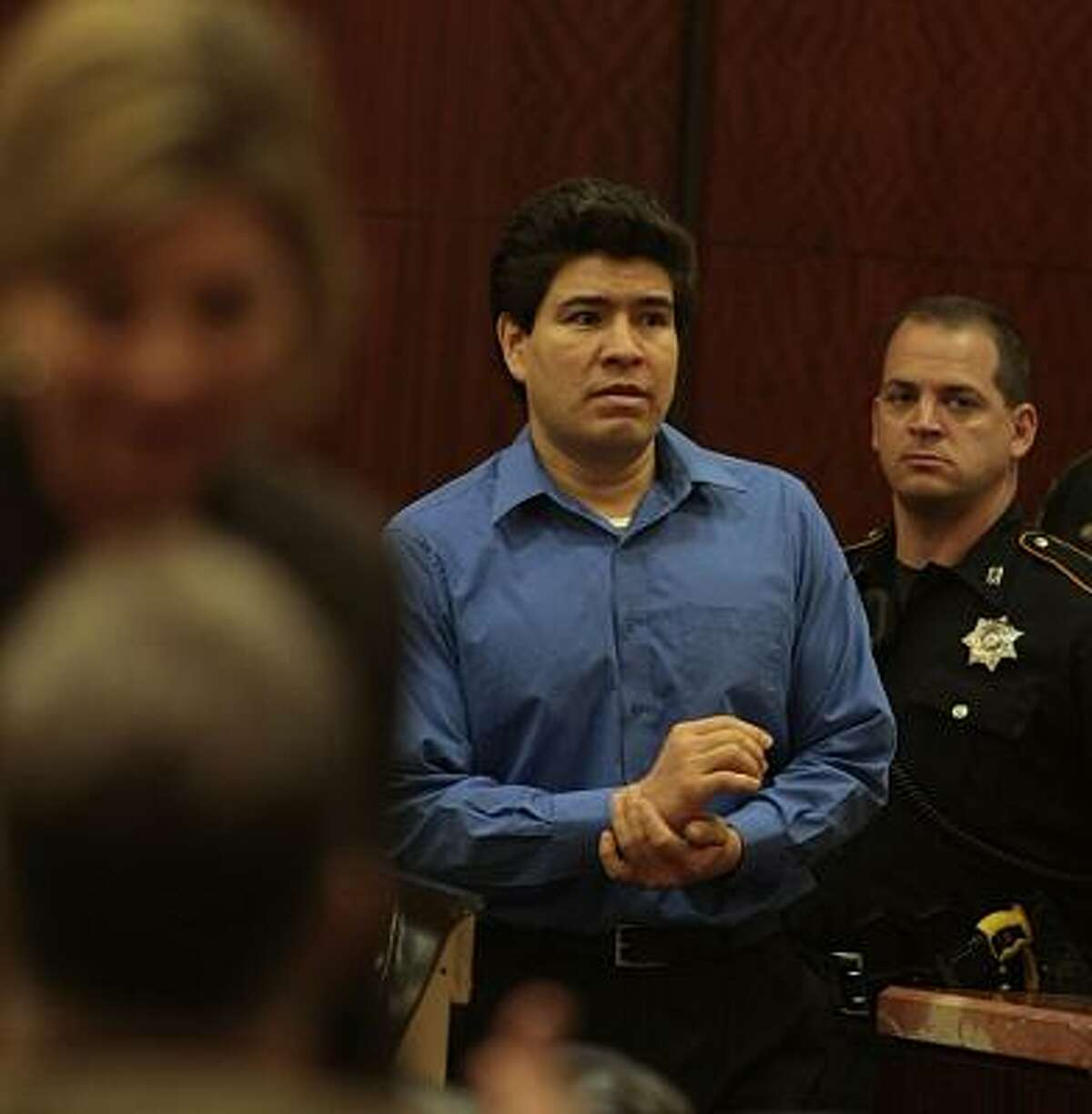 Juan Leonardo Quintero enters the courtroom for the sentencing phase of his death penalty trial at the Harris County Criminal Justice Center, May 13, 2008.