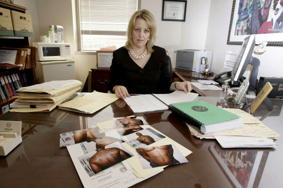 Assistant Harris County District Attorney Katherine McDaniel, shown with photos of Rene in her office, says the 26-year-old from North Shore rose through the ranks to lead one of Houston's largest gangs.